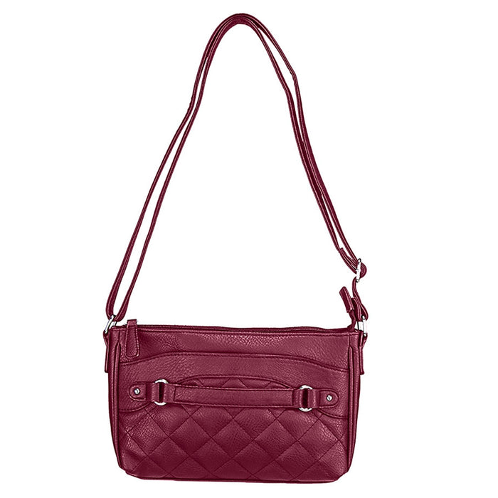 NcStar BWS003 VISM Faux Leather Quilted Crossbody Carrying Bag - Red