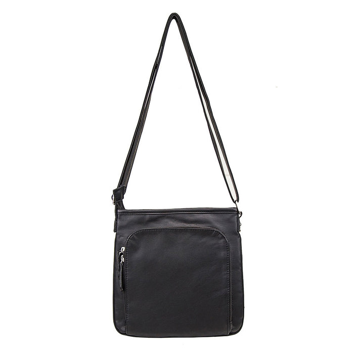 NcStar BWV001 VISM Small Faux Leather Messenger Crossbody Carrying Bag - Black