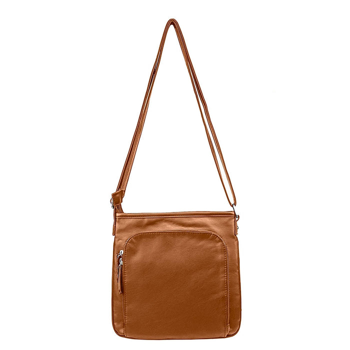 NcStar BWV002 VISM Small Faux Leather Messenger Crossbody Carrying Bag - Brown