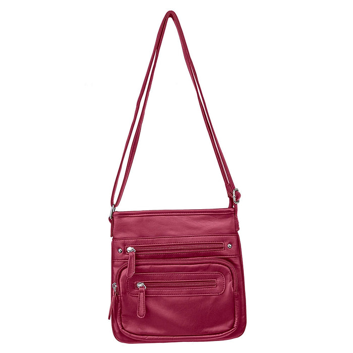 NcStar BWV003 VISM Small Faux Leather Messenger Crossbody Carrying Bag - Red