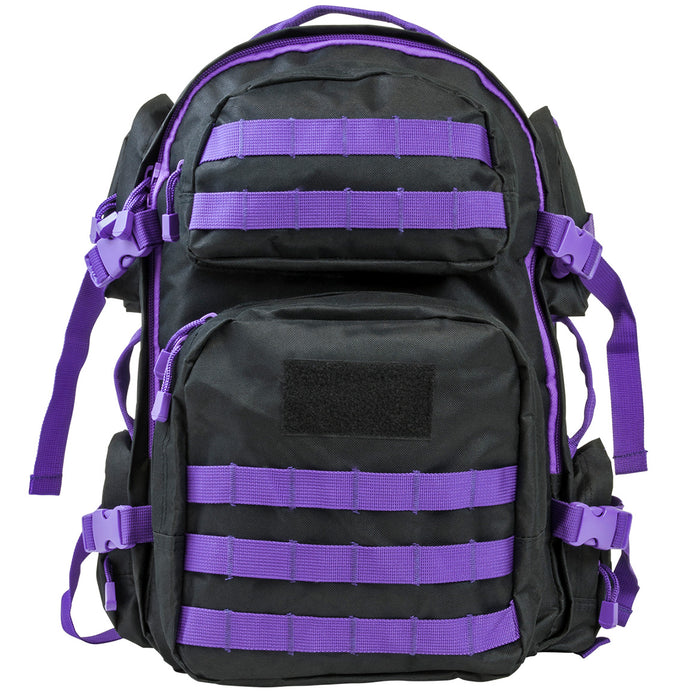 NcStar CBPR2911 18-Inch x 12-Inch MOLLE Tactical Backpack, Black w/ Purple