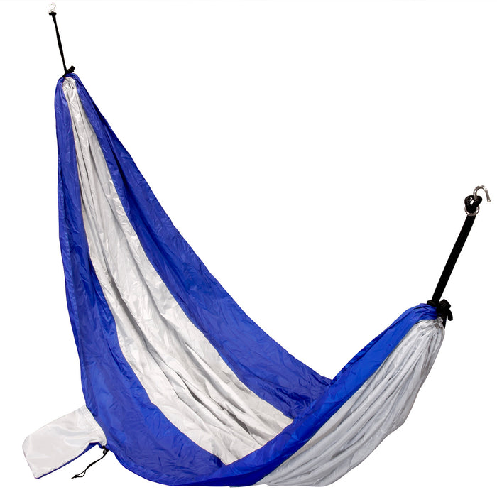 NcStar COHAM2967LS 120-Inch x 80-Inch Parachute Nylon Hammock, Blue and Silver