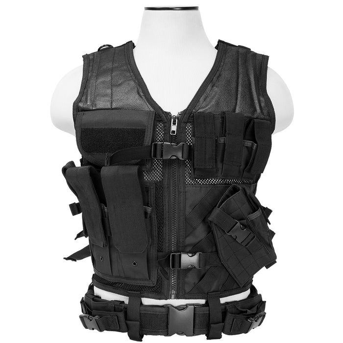 NcStar CTV2916B VISM Series Fully-Adjustable Tactical Vest, Med-2XL - Black