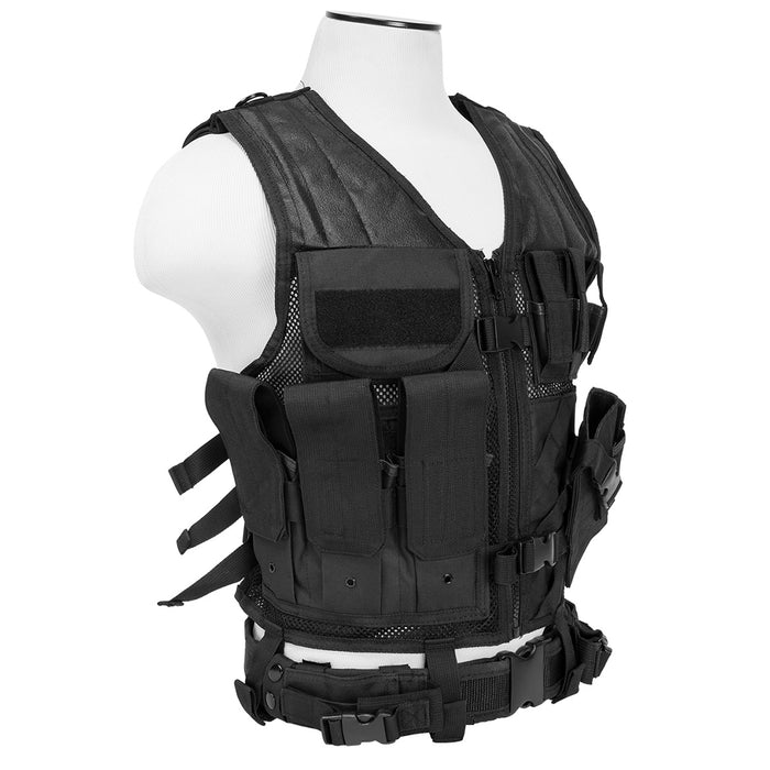 NcStar CTVL2916B VISM Series Fully-Adjustable Tactical Vest, 2XL+ - Black