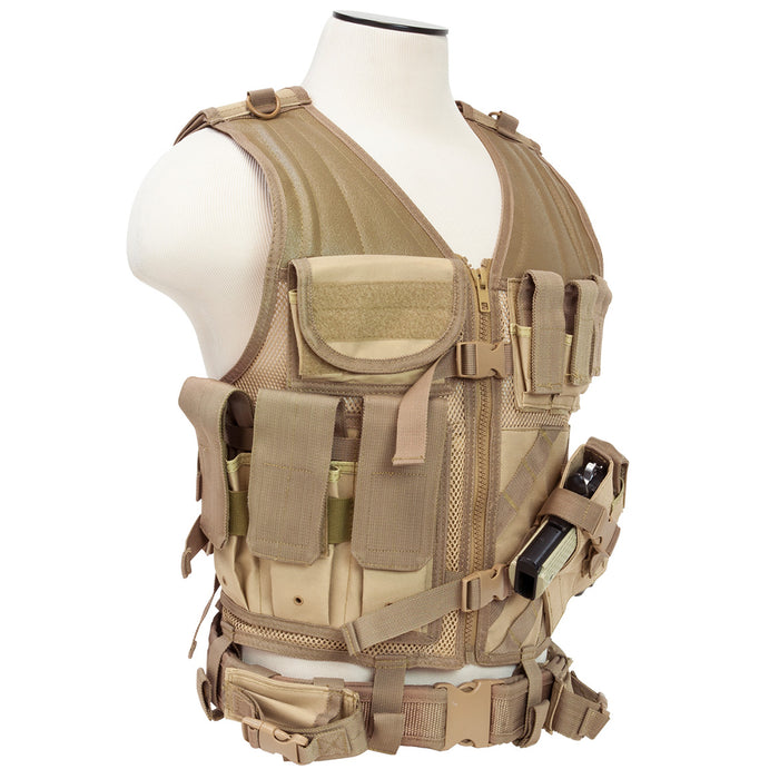 NcStar CTVL2916T VISM Series Fully-Adjustable Tactical Vest, 2XL+ - Tan