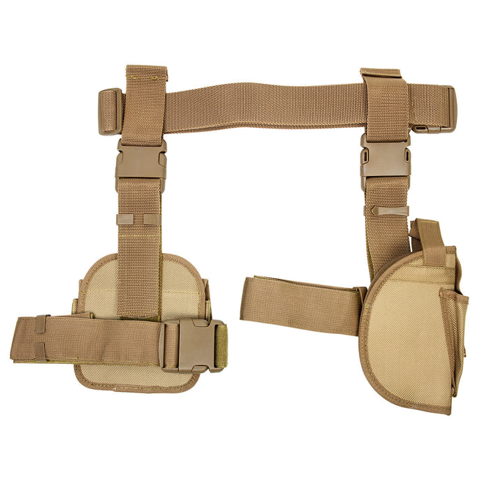 NcStar CV2908T 3-Piece Universal Right Handed Drop Leg Gun Holster, Tan