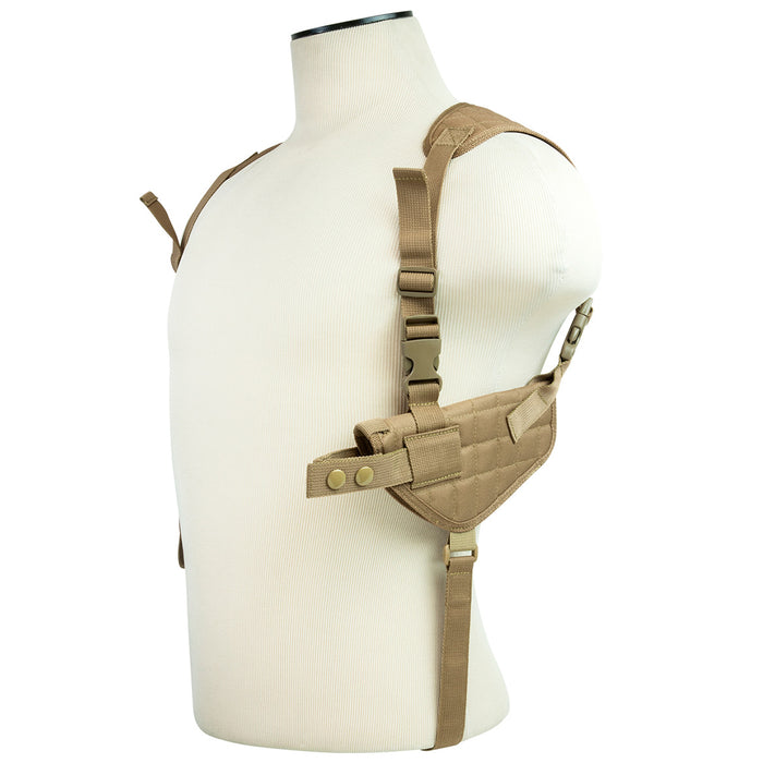 NcStar CV2909T VISM Adjustable Ambidextrous Horizontal Shoulder Holster, Tan