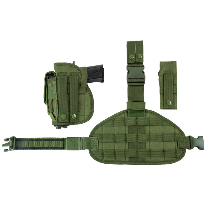 NcStar CVDLHOL2956G VISM Right Handed Drop Leg MOLLE Holster Panel Pouch, Green