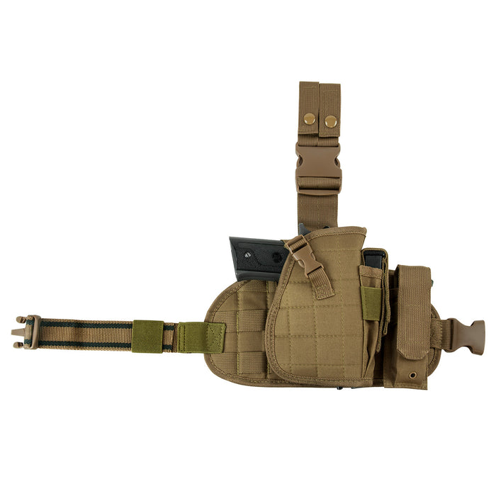 NcStar CVDLHOL2956T VISM Right Handed Drop Leg MOLLE Holster Panel Pouch, Tan