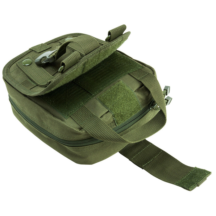 NcStar CVEMT2970G 8-Inch Double Zippered Tri-Fold MOLLE EMT Pouch, Green