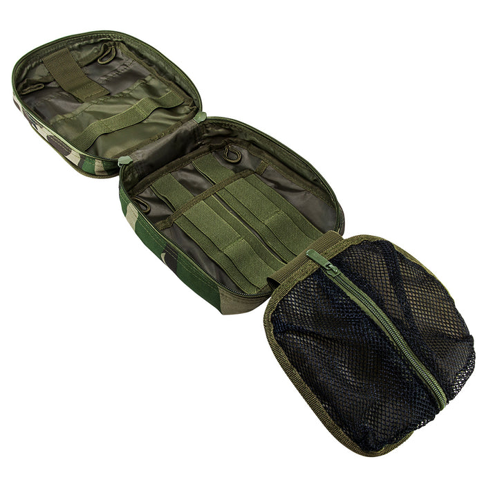 NcStar CVEMT2970WC 8-Inch Double Zippered MOLLE EMT Pouch, Woodland Camo