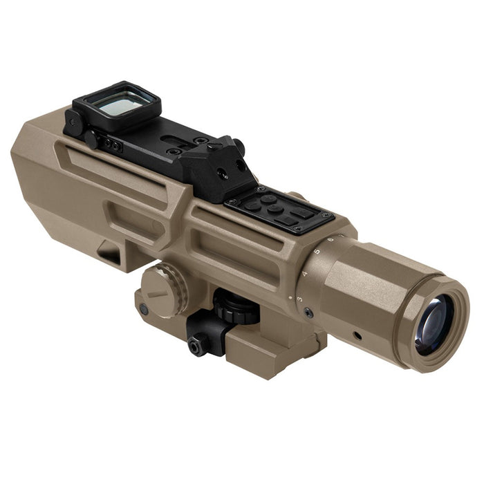 NcStar VADOTP3942G 3-9x42mm Integrated Red Dot P4-Sniper Reticle Scope, Tan