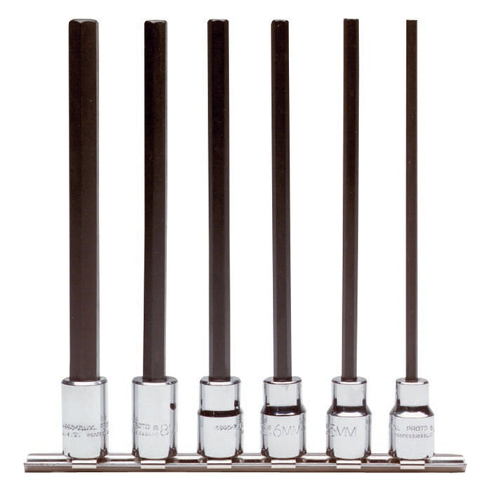 Proto J4990-SMXL 3/8-Inch Steel Drive Hex Metric Extra Long Bit Set - 6pc