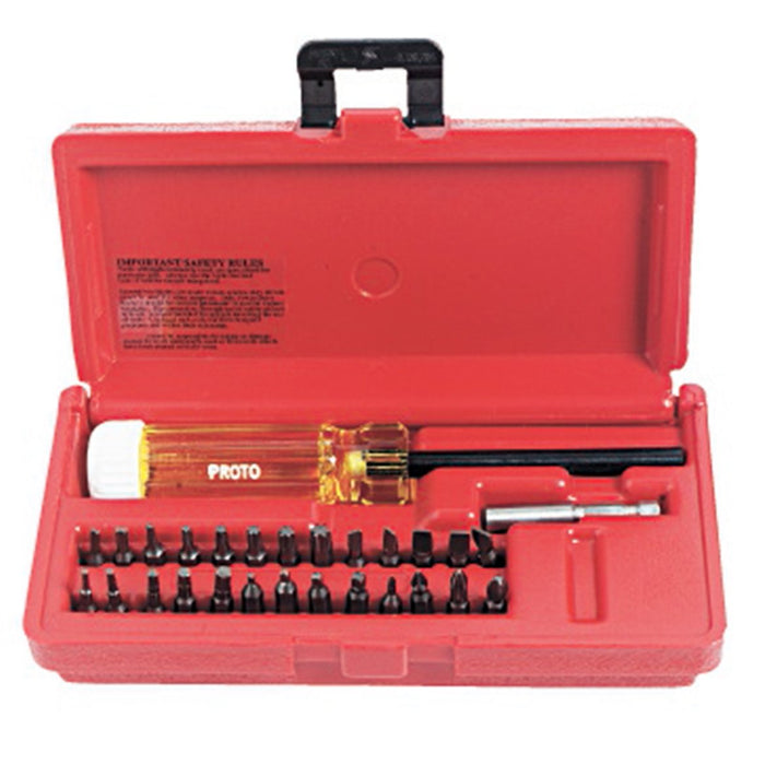 Proto J61929 Full Polish Magnetic Screwdriver Bit Set with Carrying Case - 28pc
