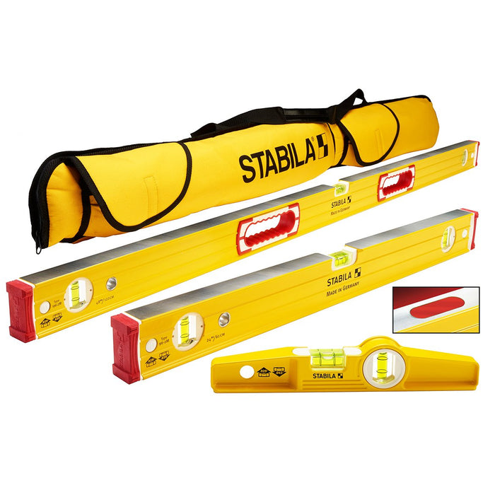 Stabila 96M Heavy Duty Aluminum Retangle Magnetic 3 Level Set w/ Case - 48380