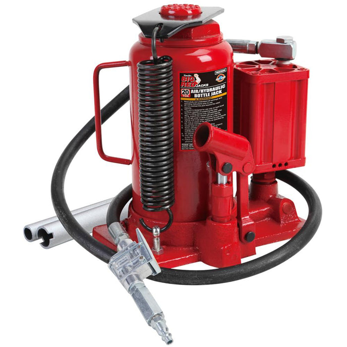 "Torin Big Red T31001 20-Ton 10-7/16 - 20-1/16"" Steel Air Hydraulic Bottle Jack"