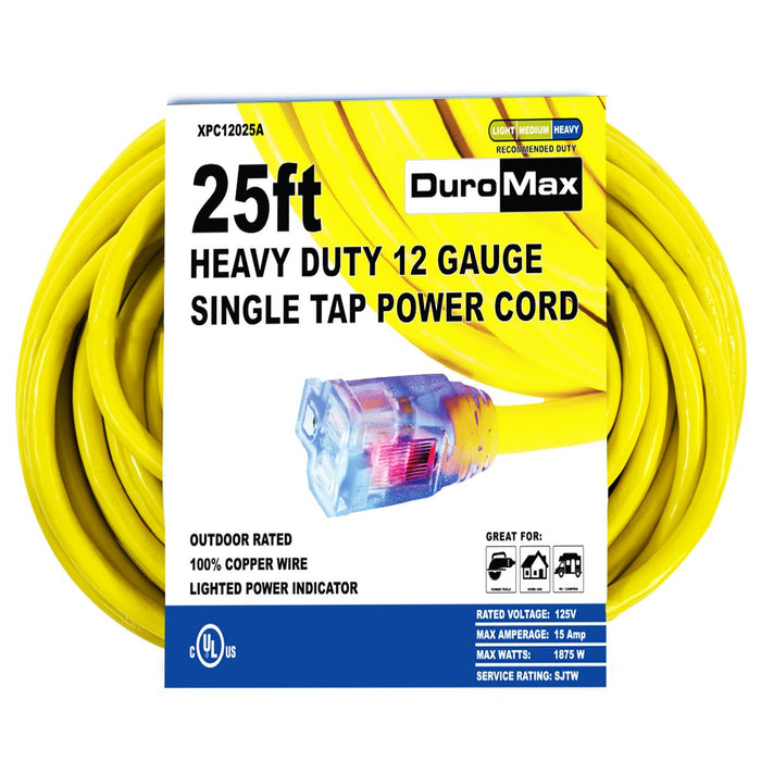 DuroMax XPC12025A 25 Foot 12 Gauge Single Tap Extension Power Cord