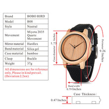 Folia - Bamboo Wood Watch with Black Silicone Strap
