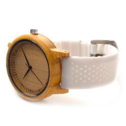 Folia - Bamboo Wood Watch with White Silicone Strap