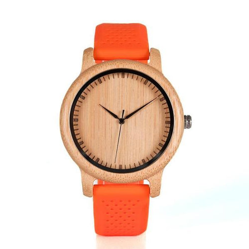 Folia - Bamboo Wood Watch with Orange Silicone Strap