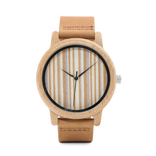 Moga - Bamboo Wood Watch with Striped Dial