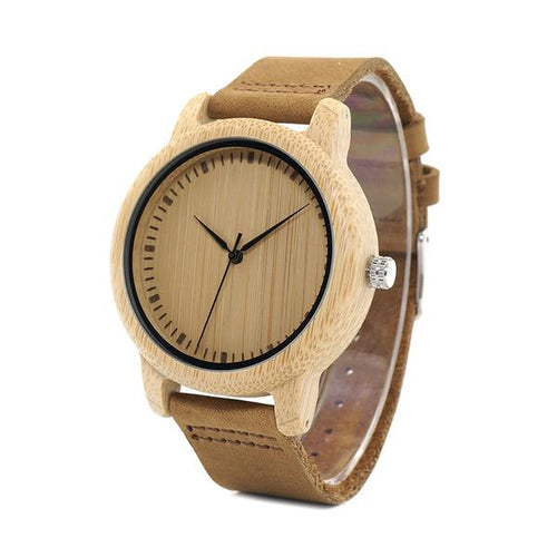 Moga - Plain Bamboo Wood Watch with Leather Strap