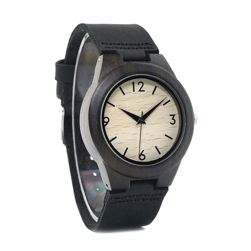 Alba - Dark Ebony Watch with Leather Strap and Numerals