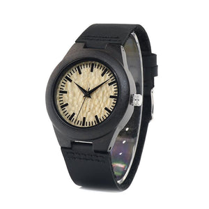 Alba - Dark Ebony Watch with Leather Strap
