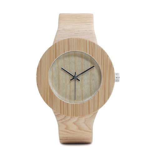 Coral - Light Bamboo Grain with Leather Strap