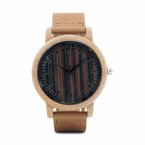Retusa - Zebra Wood Case and Dial with Leather Strap