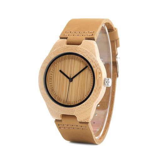 Coco - A Light Bamboo Case with Brown Leather Strap