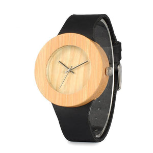 Coral - Light Bamboo with Black Leather Strap