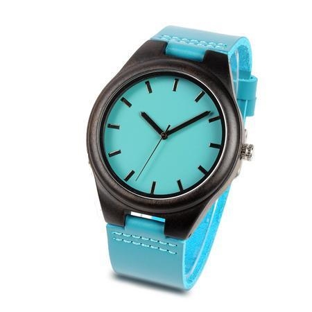 Turquoise - Handmade Ebony Watch with Leather Strap