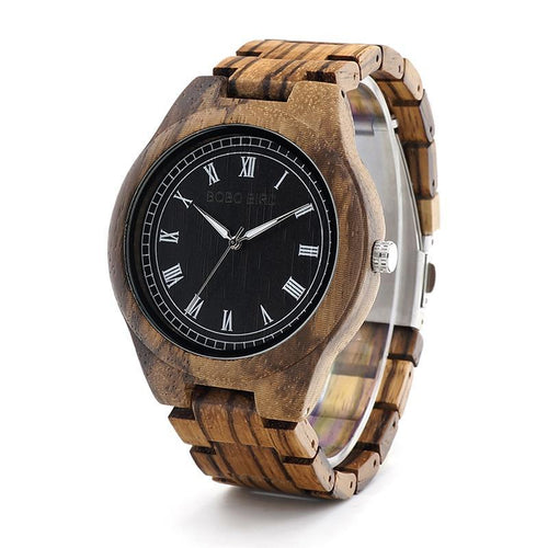 Alpha - Zebra Wood Dark Face with White Roman Numerals