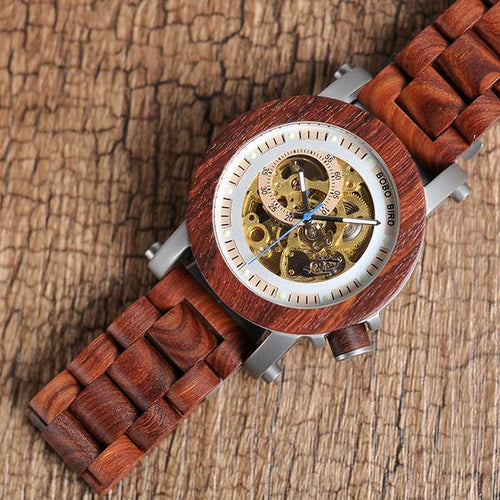 Skeleton - Sandalwood and Stainless Steel Casing with Exposed Mechanism
