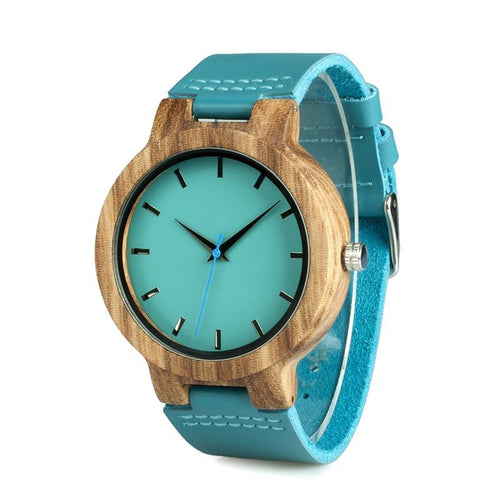 Turquoise - Handmade Bamboo Watch with Leather Strap