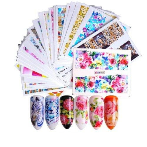 Full Beauty - 1 Set Mixed Design New Nail Art Sticker - Naily