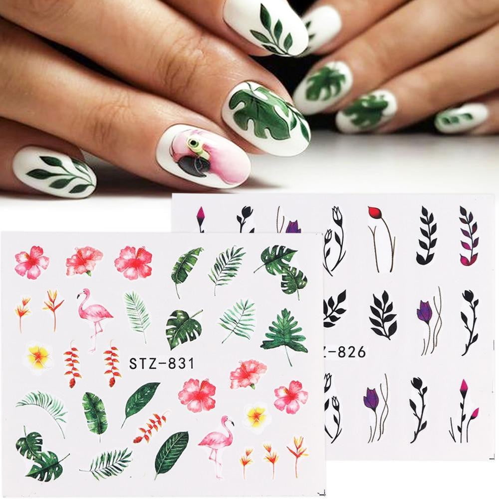 Full Beauty - 1pcs Nail Stickers Green Flowers - Naily
