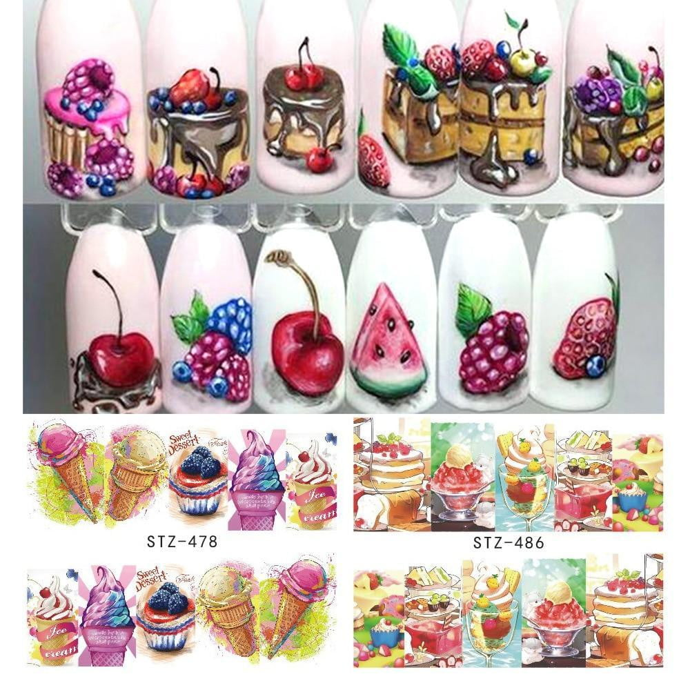 Full Beauty - 1PCS Summer Ice Cream Fruit Strawberry Cherry Cake Nail Art Water Transfer - Naily