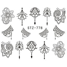 Load image into Gallery viewer, Full Beauty - Jewelry Flower Water Decal Black Sticker - Naily