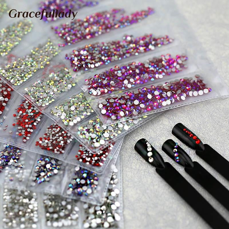 gracefullady - Multi-size Glass Nail Rhinestones - Naily