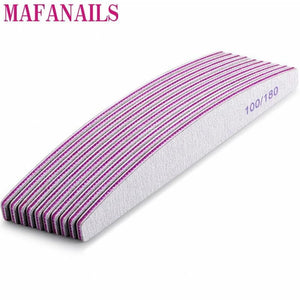 MAFANAILS - 10Pcs Grey 100/180 Grit Nail File - Naily