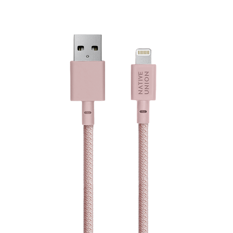 __sku:BELT-KV-L-ROSE-3;Belt Cable XL - Rose - USB-A to Lightning
