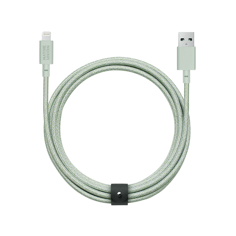 __sku:BELT-L-GRN-3-NP;Belt Cable XL - Sage - USB-A to Lightning