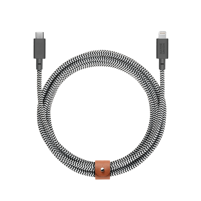 __sku:BELT-KV-CL-ZEB-3;Belt Cable XL - Zebra - USB-C to Lightning
