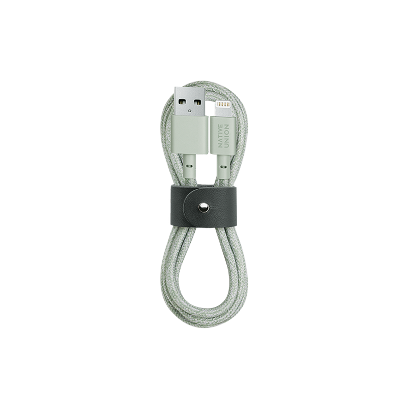 __sku:BELT-L-GRN-2-NP;Belt Cable - Sage - USB-A to Lightning