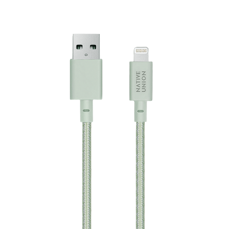 __sku:NCABLE-L-GRN-NP;Night Cable XL - Sage - USB-A to Lightning