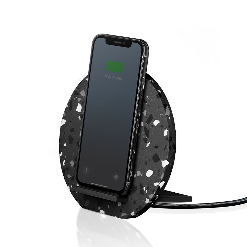 __sku:DOCK-WL-TER-GRY;Dock Terrazzo Wireless Charger - Black