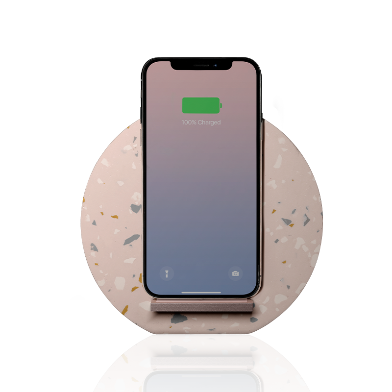 __sku:DOCK-WL-TER-ROSE;Dock Terrazzo Wireless Charger - Rose