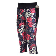 SKULLS AND ROSES ATHLETIC CAPRI